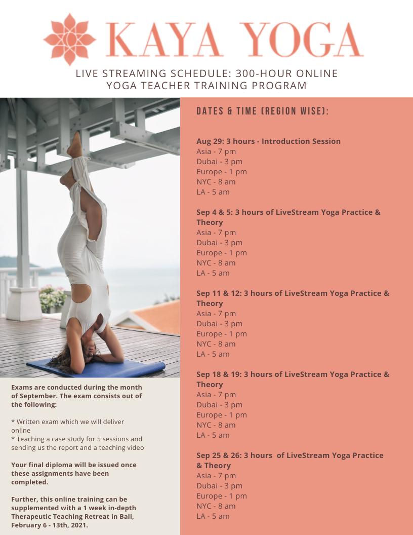 300-hour teacher training program August